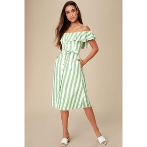 Sunny Green Striped Off-the Shoulder Midi Dress